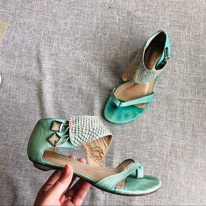 Biondini Sea Green Aqua Turquoise Leather Sandals